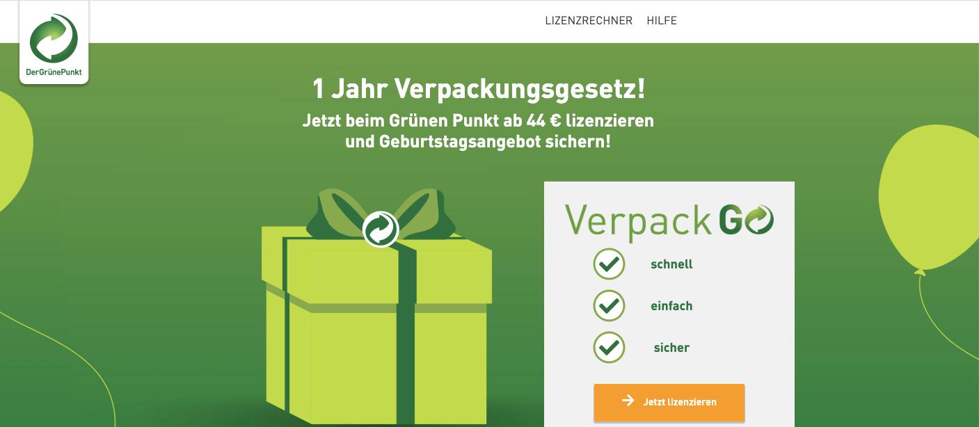 Grüner Punkt VerpackGo Verpackungslizenzrechner