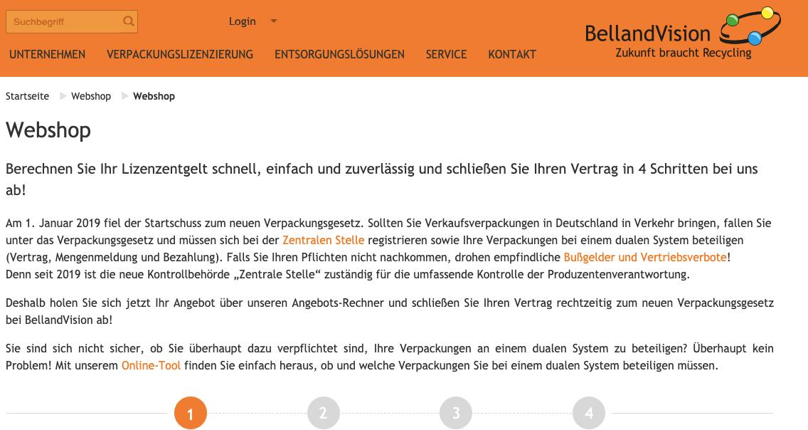 Verpackungslizenz BellandVision