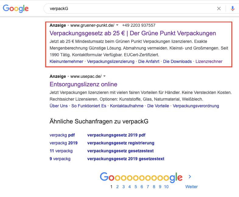 GrünerPunkt 25 Euro Angebot Googel