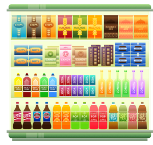 Verpackungslizenz Supermarkt shelves